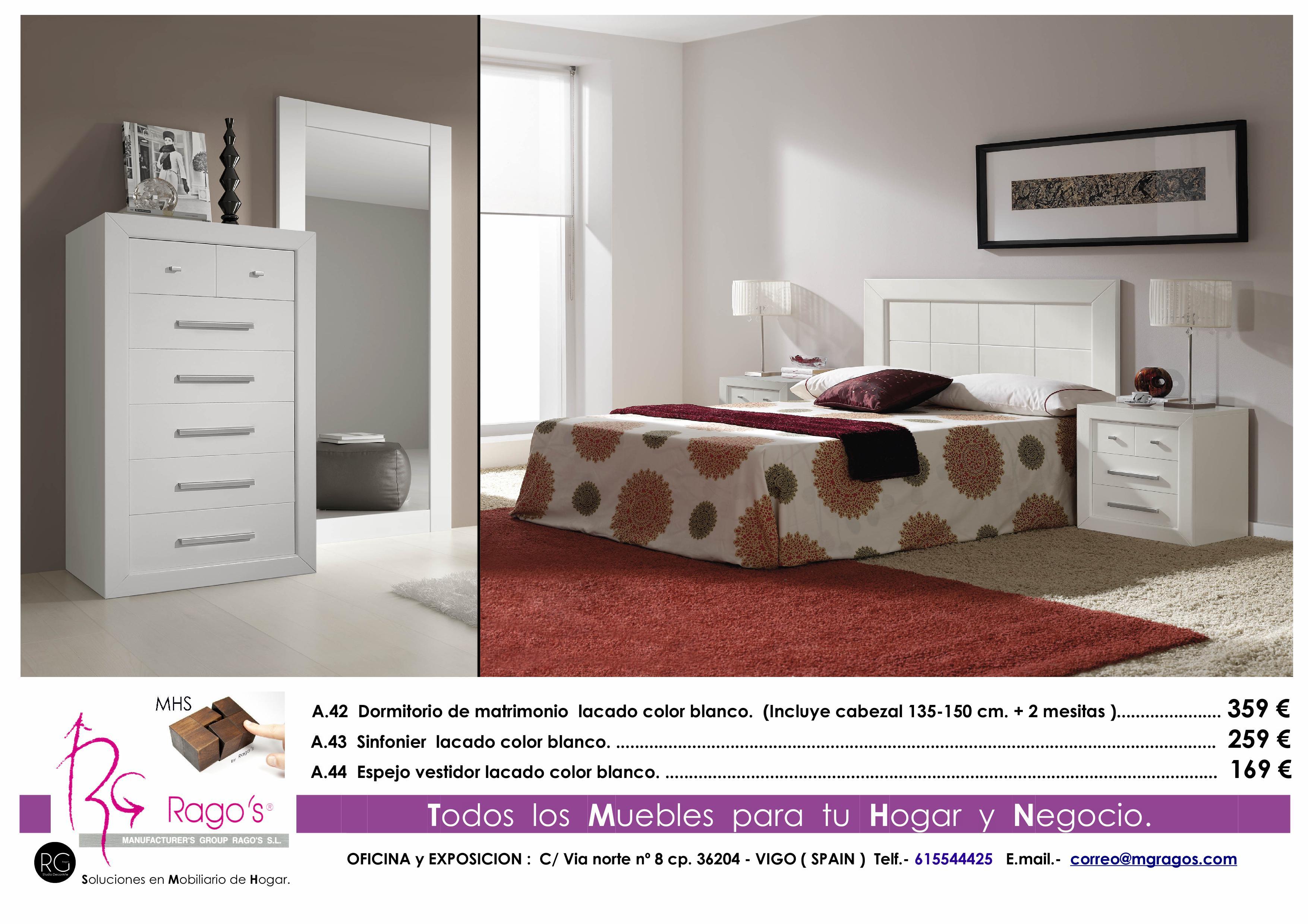 A.42-A.43-A.44 Dormitorio (Cabezal+Mesitas-Sinfonier+Espejo) Pag. nº 6