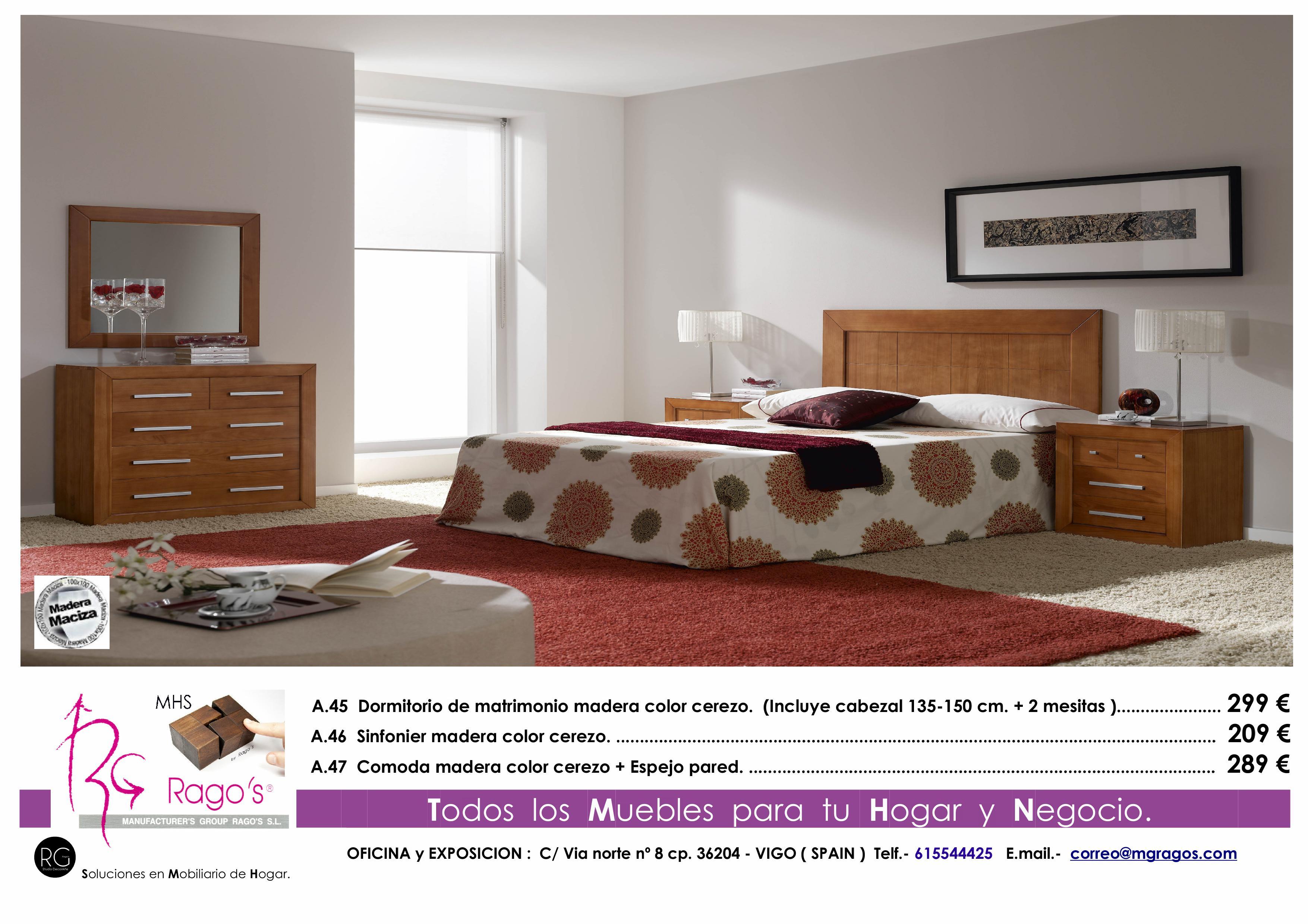 A.45-A.46-A.47 Dormitorio (Cabezal+Mesitas-Comoda+Espejo-Sinfonier) Pag. nº 6